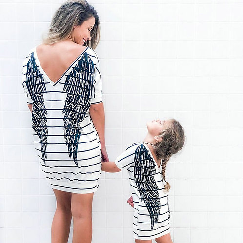 Angel Wings Striped T-shirt Dress 💖