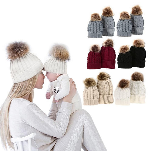 Mommy & Me Knitted Winter Hats with Pom Pom