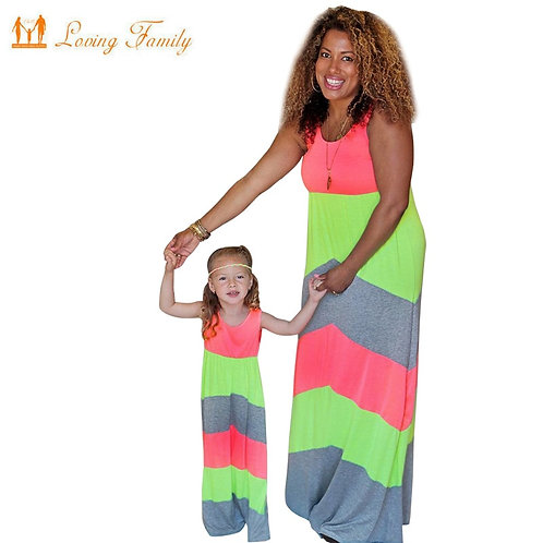 Neon Striped Maxi Dress 💖