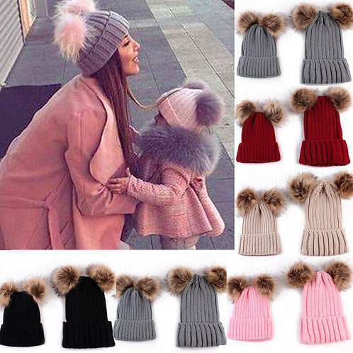 Mommy & Me Double Pom Pom Knitted Winter Hats