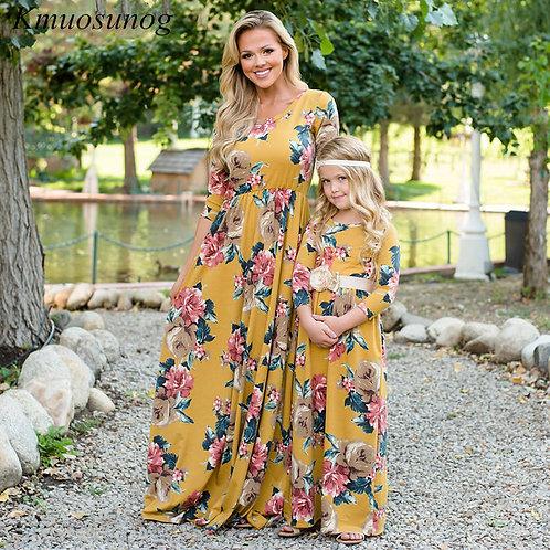 Autumn Three Quarter Sleeve Print Maxi Dress 💖