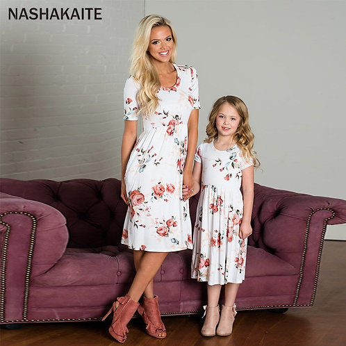 Short Sleeve Floral Print Dress with Pockets 💖