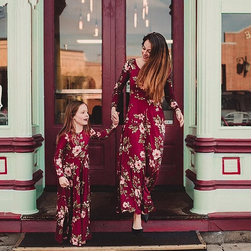 Long Sleeve Wine Floral Maxi Dress 💖