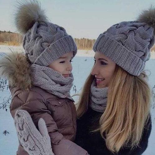Mommy & Me Crochet Hat with Pom Pom