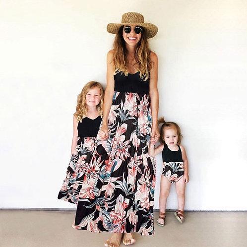 Foliage Print Dress & Baby Romper 💖