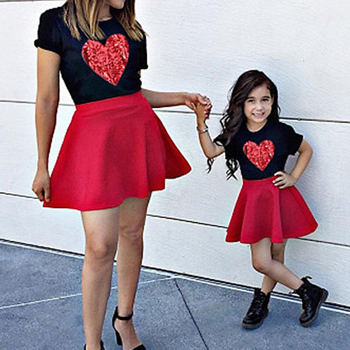Heart Print T-Shirt & Skirt Set 💖