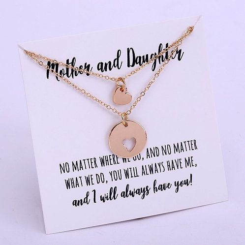 Mother & Daughter Necklaces Set Heart Chain Necklace 💖