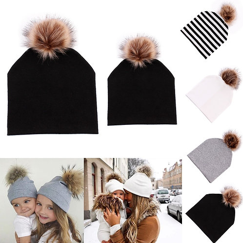 Mommy & Me Winter Hats with Pom Pom