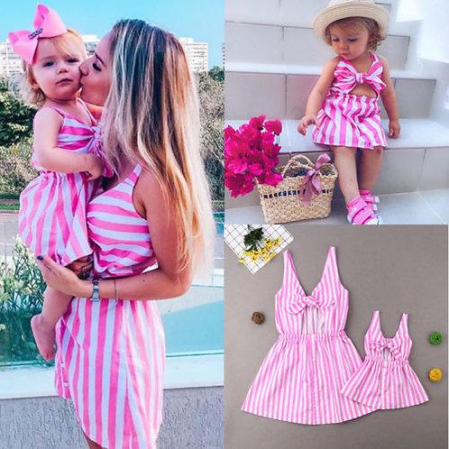 Stripe Bow Mini Dress 💖