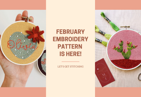 February Embroidery Pattern