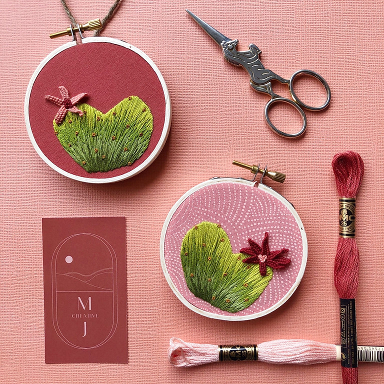 Heart Cactus with 3D Flower Embroidery Workshop