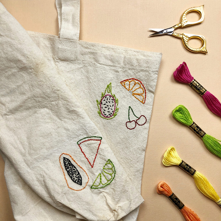 Summer Fruit Embroidered Grocery Tote Workshop