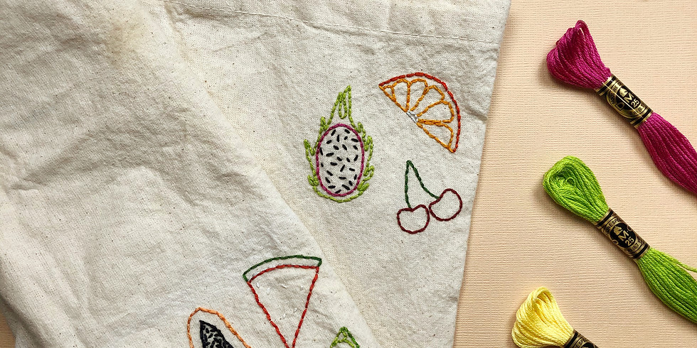 Fresh Fruit Grocery Tote Embroidery Workshop