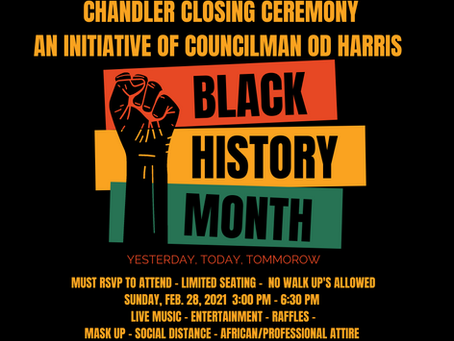 Chandler Black History Month Ceremony. Make sure you RSVP to attend. https://tinyurl.com/2u5u74x4