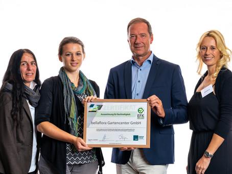 bellaflora erhielt das EFK Zertifikat für Nachhaltigkeit