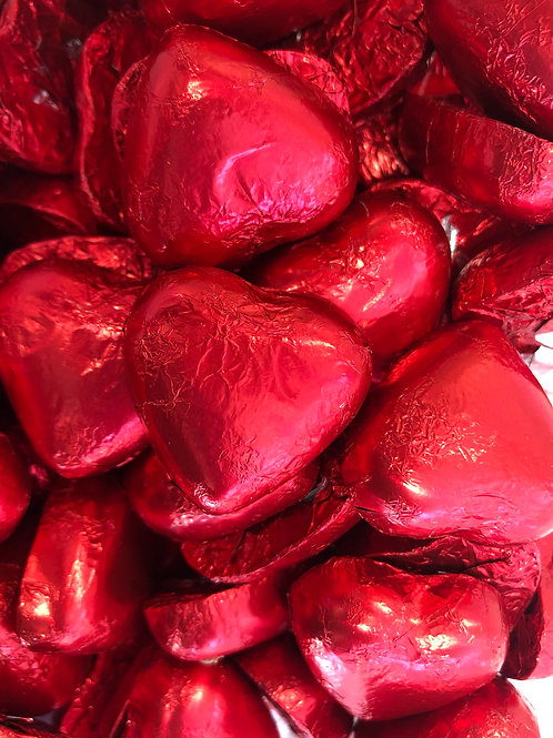 RED FOILED MILK CHOCOLATE (CARAMEL CREME) HEARTS
