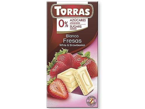 TORRAS 0% ADDED SUGAR WHITE CHOCOLATE AND STRAWBERRIES BAR