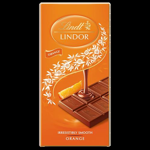 LINDT LINDOR ORANGE MILK CHOCOLATE BAR (100G)