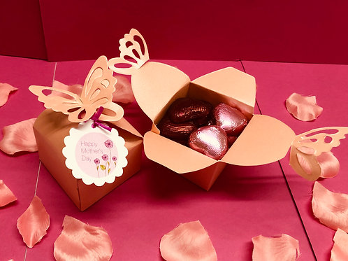 CHOCOLATE HEARTS FILLED BUTTERFLY BOX