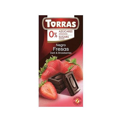 TORRAS 0% ADDED SUGAR DARK CHOCOLATE AND STRAWBERRIES BAR