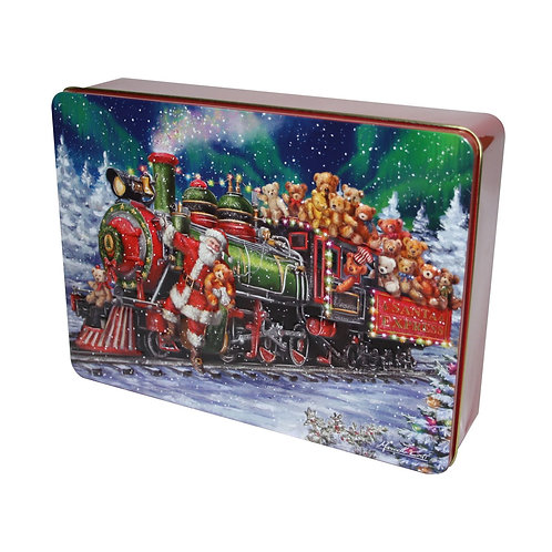 EMBOSSED SANTA TRAIN WITH TEDDIES TIN (336G)