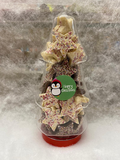 CHRISTMAS TREE JAR- Filled with Brown/White Chocolate Stars.