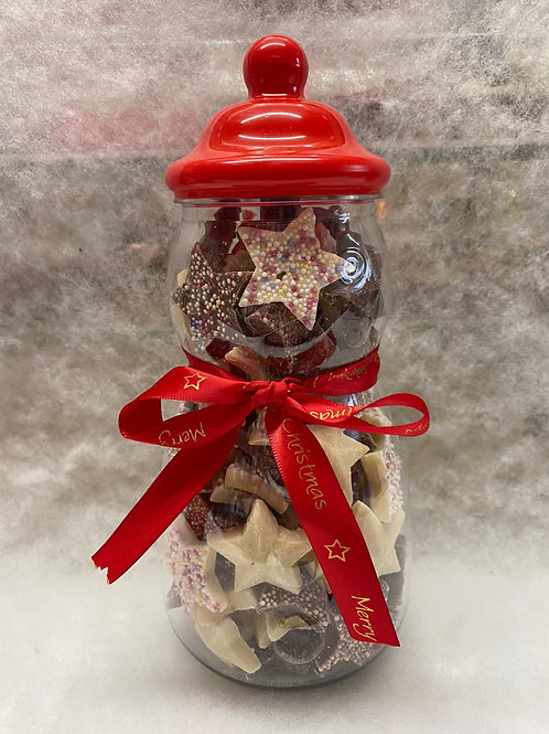 SNOWMAN SWEET JAR- Filled with Milk and white chocolate stars.
