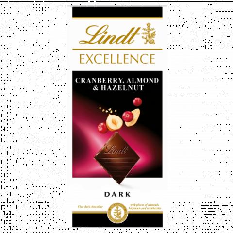 Lindt Excellence Cranberry, Almond & Hazelnut Chocolate Bar 100g