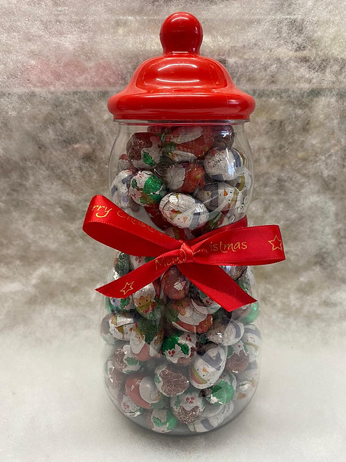 SNOWMAN SWEET JAR - filled with Milk Chocolate Christmas foiled balls.
