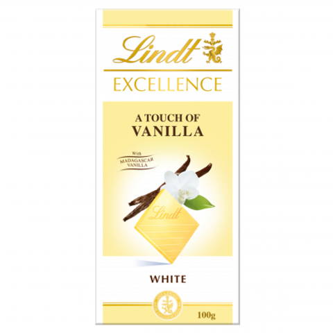 Lindt Excellence White with a touch of vanilla chocolate bar 100g