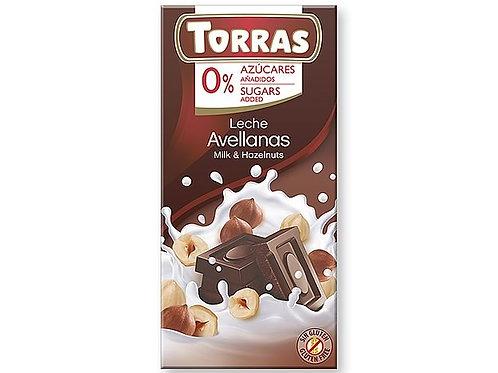 TORRAS 0% ADDED SUGAR MILK CHOCOLATE & HAZELNUTS BAR