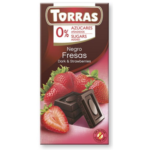 Torras 0% Added Sugar Dark Chocolate & Strawberries Bar