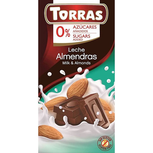 Torras 0% Added Sugar Milk Chocolate & Almonds Bar