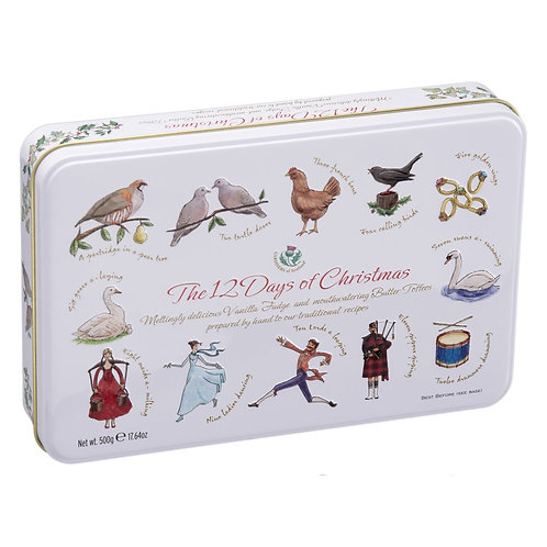 VANILLA FUDGE & BUTTER TOFFEES 12 DAYS OF CHRISTMAS TIN (500G)