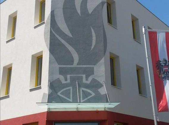 Beschriftung einer Fassade