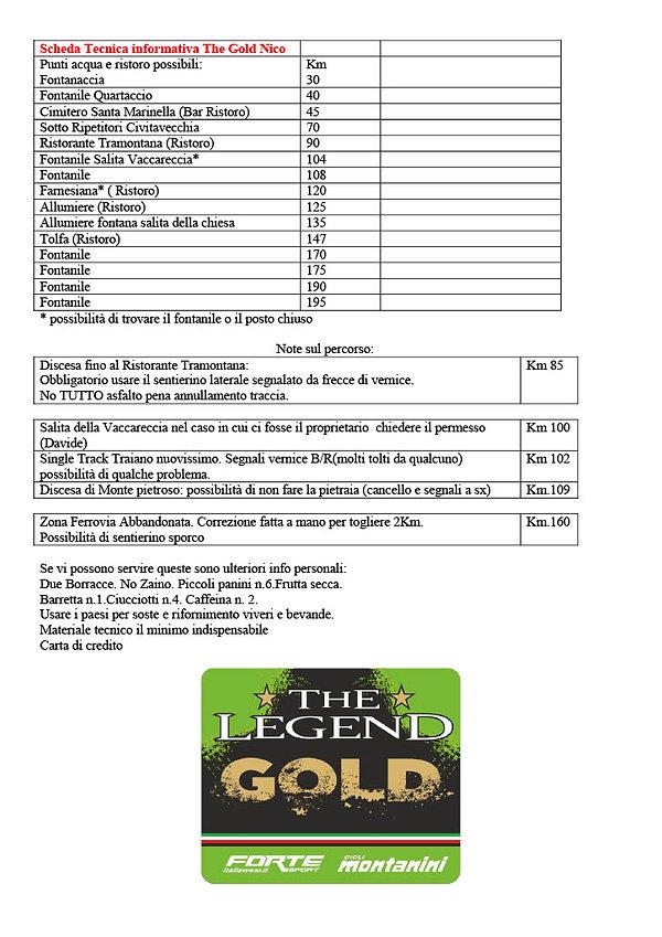 Scheda Tecnica informativa The Gold Nico