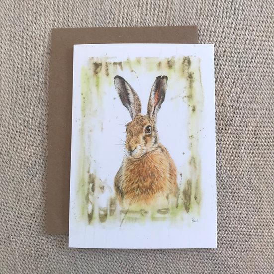 Brown Hare greetings card
