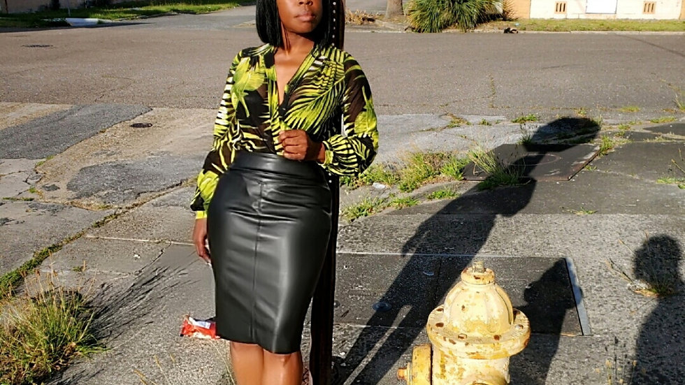 All Weather Leather-Like pencil skirt