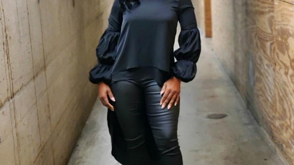 Black Ruffle Sleeve High Low Top
