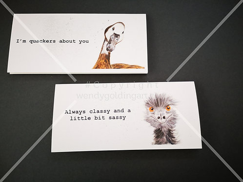 Set of original artwork cards