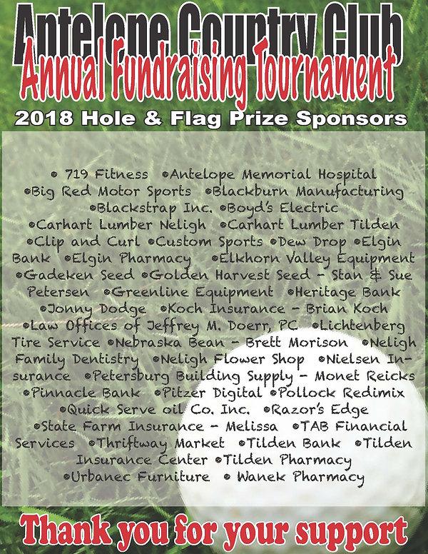 2018 Fundraising Tournament sponsor list