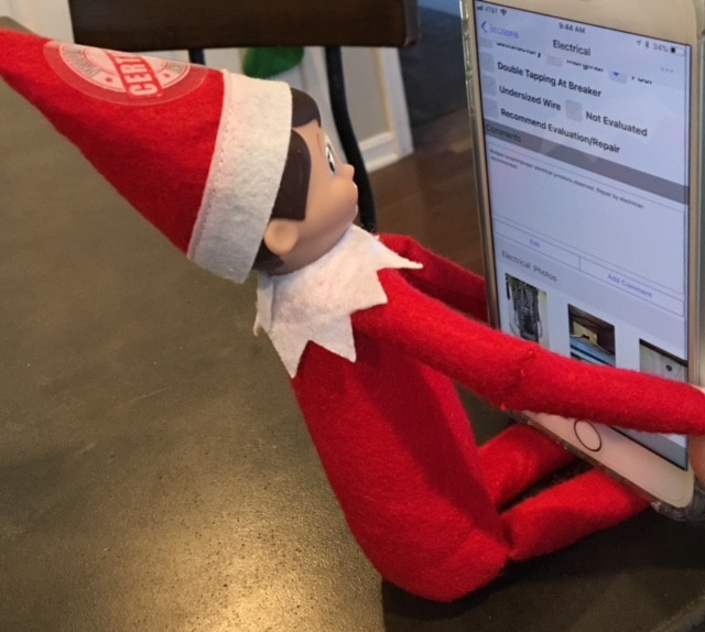 Inspector Elfie finishing up his report after a long day inspecting