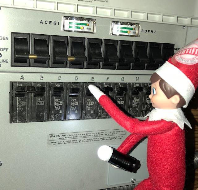 Inspector Elfie checking the breakers