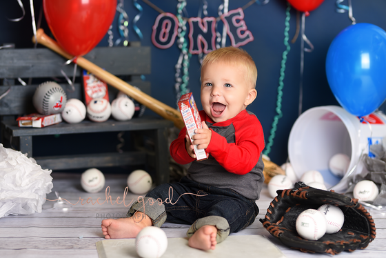 Cleveland Indian's themed Cake Smash. Jaxson turns ONE.