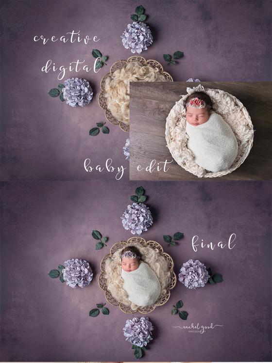 CREATIVE EDITS. Composite - Digital Backdrop Newborn Selections.