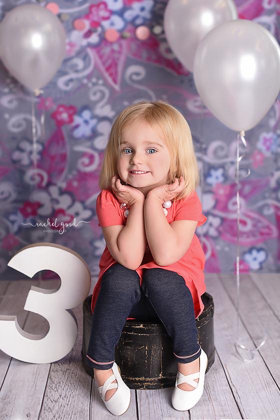 Livvie's 3 year portraits with Cleveland Photographer, Rachel Good.