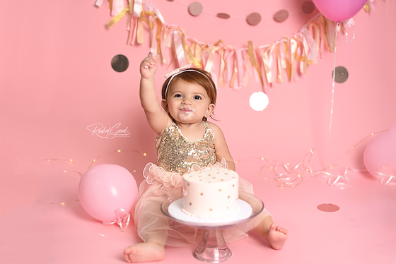 Frankie turns ONE. Pink and Gold Cake Smash.