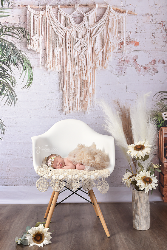 Boho Styled Short & Sweet Newborn session with Rowan. 9 days new | Cleveland Newborn Photography