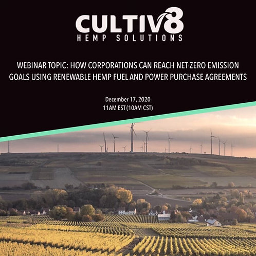Webinar: Renewable Hemp Fuel & Virtual Power Purchase Agreements