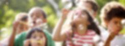 Kids Blowing Bubbles in sunday school